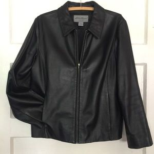 Eddie Bauer Collared Lambskin Leather Coat Jacket